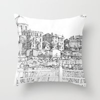 Spiagge a Pegli B&W Throw Pillow