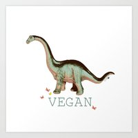 vegan dino: say what??  Art Print