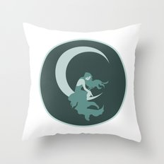 Lady on the Moon  Throw Pillow