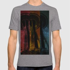 Colorful Space Needle Mens Fitted Tee Athletic Grey SMALL