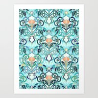 Ocean Aqua Art Nouveau Pattern with Peach Flowers Art Print