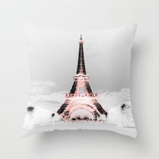 pariS Black & White + Pink Throw Pillow