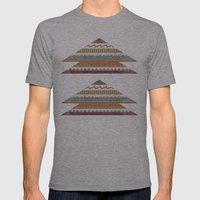 AZTEC STRIPES Mens Fitted Tee Athletic Grey SMALL