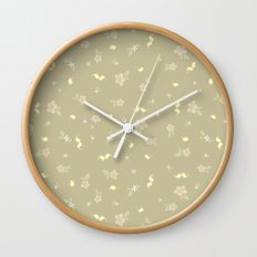 Floral on tan Wall Clock