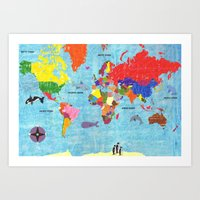 Map With Animals Art Print