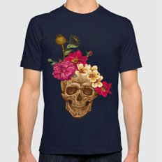 Flowers And Skull Mens Fitted Tee Navy SMALL