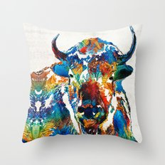 Colorful Buffalo Art - Sacred - By Sharon Cummings Throw Pillow