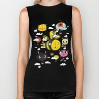 Happy Flight / The Animals Hot Air Balloon Voyagers / Patterns / Clouds Biker Tank