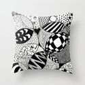 Black and White Insanity Throw Pillow