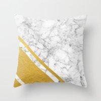 Gold Corner Marble Throw Pillow