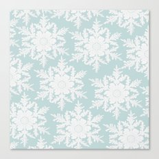 Wedgewood Blue Winter Christmas Snowflake Design Canvas Print