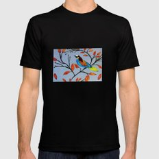 Two little birds  Mens Fitted Tee SMALL Black