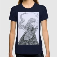 Winter Goddess Womens Fitted Tee Navy SMALL