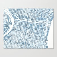 Philadelphia City Map Canvas Print