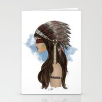 native american Stationery Cards featuring Native american by Erika Leiva