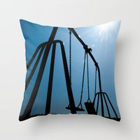 Throw Pillow featuring Abandoned Swing Set by maclac
