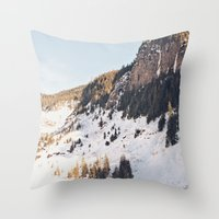 Mountain Snow in the Sun Throw Pillow