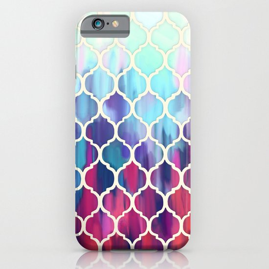 Moroccan Meltdown - pink, purple & aqua painted tiles iPhone & iPod Case