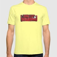 Cat In A Red Sofa  Mens Fitted Tee Lemon SMALL