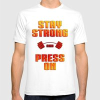 Stay Strong Mens Fitted Tee White SMALL