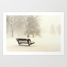 Snowy Seat Art Print