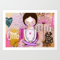 Om Meditation Woman Art Print
