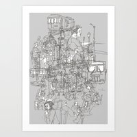 Interlocking Lives, Line… Art Print