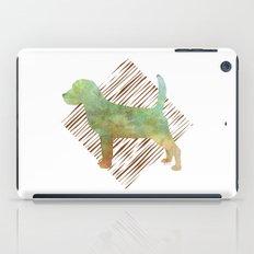 Modern Beagle Dog Watercolor Stripes iPad Case