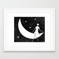 To the moon and back Framed Art Print
