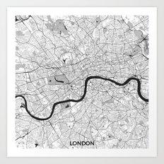 London Map Gray Art Print
