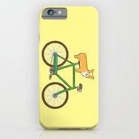 iPhone Cases featuring Corgi on a bike by Joe Van Wetering