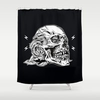 Skullflower Black And Wh… Shower Curtain