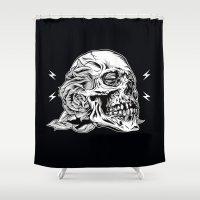 Skullflower Black And Wh… Shower Curtain