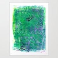 Purple Curls On Green Art Print