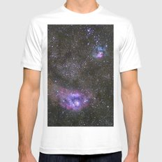 Lagoon and Trifid Nebula in Sagitarius SMALL Mens Fitted Tee White