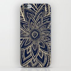 Cute Retro Gold abstract Flower Drawing on Black iPhone & iPod Skin
