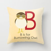 B Is For Burrowing Owl Throw Pillow