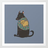 Black Dog In A Kitten Co… Art Print