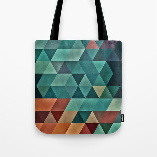 Teal/Orange Triangles Tote Bag