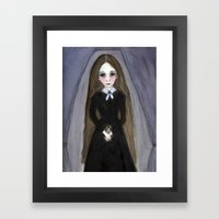 Miss Claire and Anna, Victorian Goth Portrait  Framed Art Print