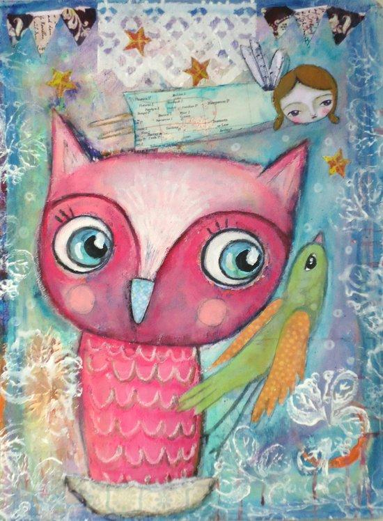 Owl, Bird and Fairy Art Print