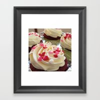 Cupcakes & Hearts Framed Art Print