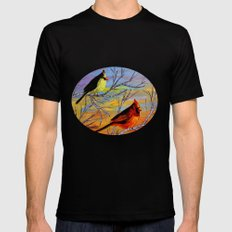 Birds on the birch tree Black SMALL Mens Fitted Tee