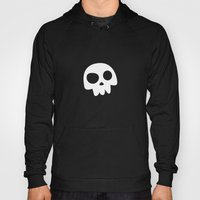 Skull Head logo with Three Teeth | Bones, white, pirates, symbolism, mortality, death, Halloween Hoody