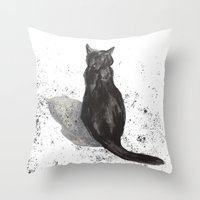 black cat shadow Throw Pillow