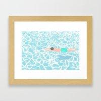 SWIMMING ALONE Framed Art Print