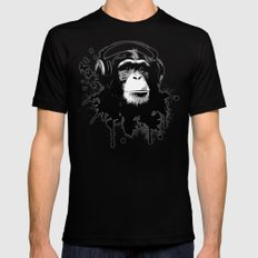 Monkey Business - White SMALL Black Mens Fitted Tee