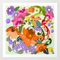 Damask Flowers, Leaves and Tropical Bird pillow Art Print