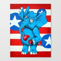 Judi's Coffee Drinking Elephant Canvas Print