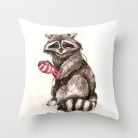 Pensive Raccoon in Red Mittens. Winter Season. Throw Pillow